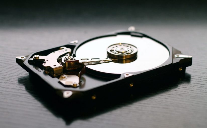 close up of hard drive